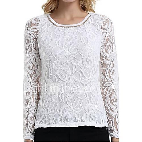 dames-eenvoudig-alle-seizoenen-t-shirt-casual-dagelijks-grote-maten-effen-ronde-hals-lange-mouw-rayon-polyester-dun