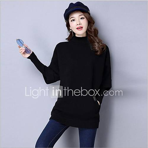 dames-casual-dagelijks-normaal-pullover-effen-coltrui-lange-mouw-acryl-herfst-dik-micro-elastisch
