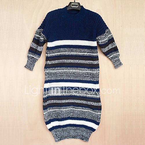 dames-uitgaan-casual-dagelijks-lang-pullover-effen-gestreept-strakke-ronde-hals-driekwart-mouw-acryl-lente-herfst-medium-micro-elastisch