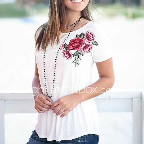 dames-vintage-street-chic-zomer-herfst-t-shirt-uitgaan-casual-dagelijks-bloemen-geborduurd-ronde-hals-korte-mouw-polyester-medium