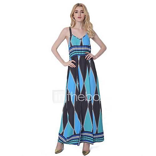 dames-uitgaan-casual-dagelijks-eenvoudig-wijd-uitlopend-jurk-bloemen-diepe-v-hals-maxi-mouwloos-polyester-zomer-medium-taille-inelastisch