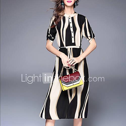 dames-uitgaan-casual-dagelijks-eenvoudig-schede-wijd-uitlopend-jurk-gestreept-opstaand-midi-driekwart-mouw-polyester-lente-zomer-medium