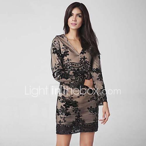 dames-uitgaan-casual-dagelijks-eenvoudig-bodycon-jurk-bloemen-print-diepe-v-hals-mini-lange-mouw-polyester-lente-zomer-medium-taille
