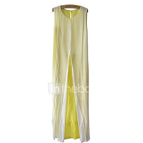 dames-uitgaan-vakantie-ruimvallend-chiffon-jurk-kleurenblok-ronde-hals-maxi-mouwloos-rayon-acryl-lente-zomer-medium-taille-micro-elastisch