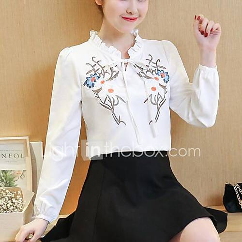 dames-eenvoudig-schattig-alle-seizoenen-lente-blouse-casual-dagelijks-geborduurd-v-hals-lange-mouw-polyester-medium
