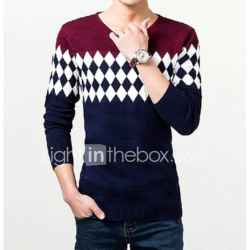 heren-uitgaan-casual-dagelijks-eenvoudig-normaal-pullover-kleurenblok-v-hals-lange-mouw-katoen-herfst-winter-medium-micro-elastisch