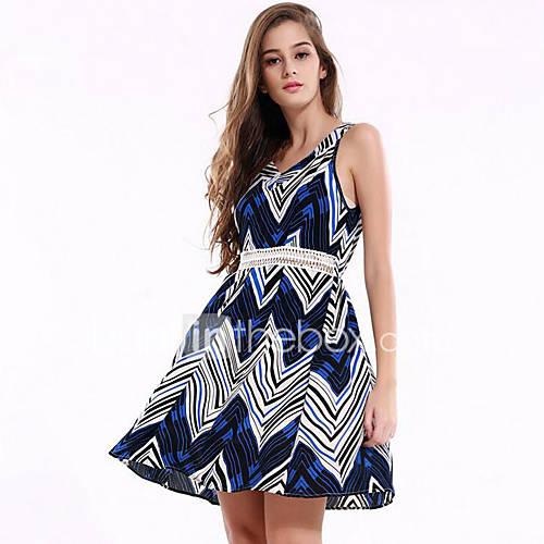 dames-uitgaan-casual-dagelijks-eenvoudig-wijd-uitlopend-jurk-bloemen-diepe-v-hals-boven-de-knie-mouwloos-polyester-zomer-medium-taille