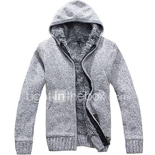 heren-uitgaan-casual-dagelijks-eenvoudig-normaal-vest-effen-capuchon-lange-mouw-wol-katoen-herfst-winter-dik-micro-elastisch