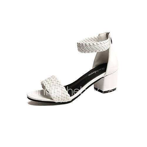 Women's Shoes PU Spring Summer Comfort Sandals Chunky Heel Block Heel Open Toe for Casual White Black