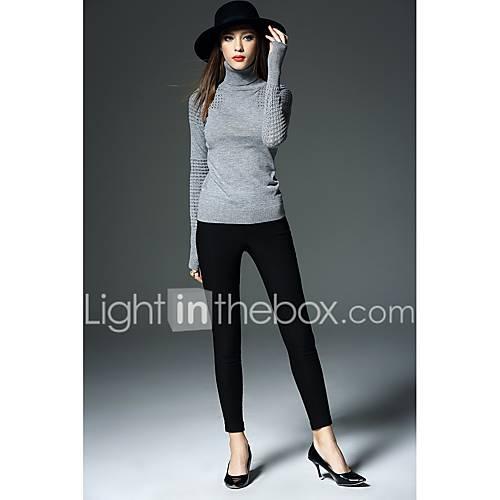 dames-casual-dagelijks-eenvoudig-normaal-pullover-effen-coltrui-lange-mouw-katoen-winter-dik-micro-elastisch