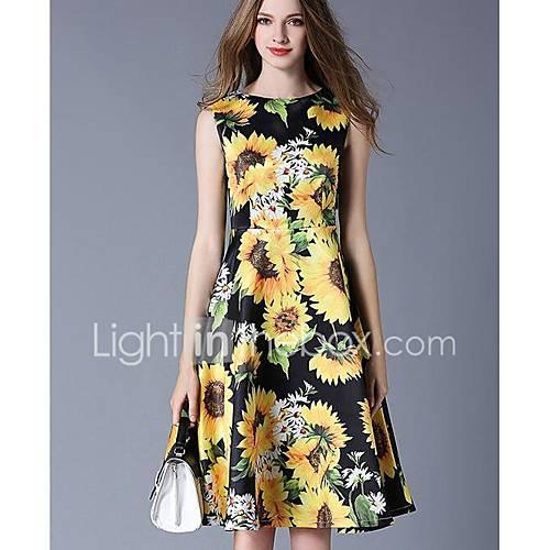 dames-uitgaan-schattig-a-lijn-jurk-bloemen-ronde-hals-tot-de-knie-mouwloos-polyester-lente-zomer-medium-taille-micro-elastisch-medium