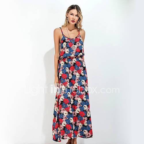 dames-uitgaan-casual-dagelijks-boho-street-chic-verfijnd-ruimvallend-jurk-bloemen-bandje-maxi-mouwloos-polyester-lente-zomer-medium-taille