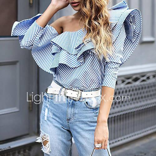 dames-vintage-street-chic-lente-zomer-overhemd-uitgaan-casual-dagelijks-gestreept-schouderafhangend-lange-mouw-katoen-polyester-medium
