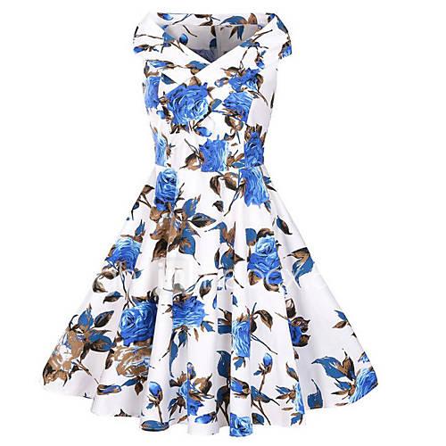 dames-casual-dagelijks-vintage-schede-jurk-print-boothals-midi-mouwloos-katoen-polyester-zomer-herfst-medium-taille-micro-elastisch-medium