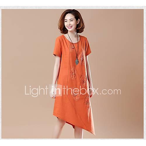dames-casual-dagelijks-eenvoudig-ruimvallend-jurk-effen-ronde-hals-midi-korte-mouw-overige-alle-seizoenen-medium-taille-micro-elastisch