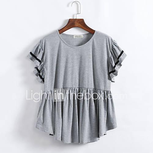 vrouwen-grote-maten-street-chic-zomer-t-shirt-casual-dagelijks-effen-ronde-hals-korte-mouw-zwart-grijs-katoen-medium
