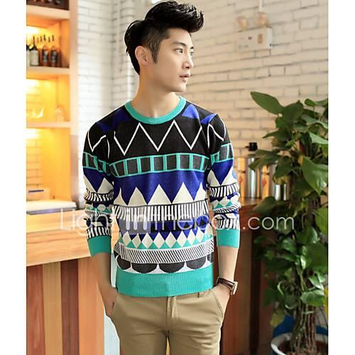heren-uitgaan-casual-dagelijks-eenvoudig-normaal-pullover-kleurenblok-ronde-hals-lange-mouw-katoen-polyester-herfst-winter-dik