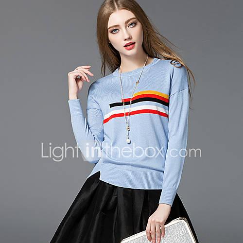 dames-casual-dagelijks-eenvoudig-street-chic-normaal-pullover-gestreept-ronde-hals-lange-mouw-rayon-lente-herfst-medium-micro-elastisch