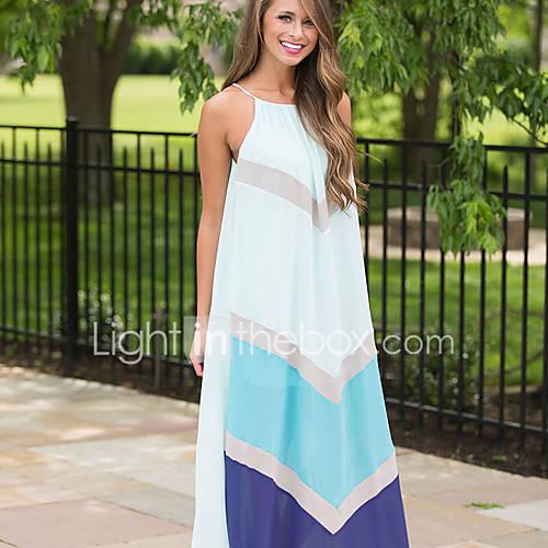 dames-uitgaan-casual-dagelijks-vintage-eenvoudig-ruimvallend-jurk-kleurenblok-bandje-maxi-boven-de-knie-mouwloos-polyester-zomer-medium