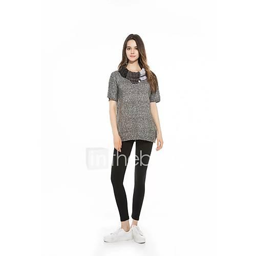 dames-uitgaan-casual-dagelijks-eenvoudig-street-chic-normaal-pullover-effen-overhemdkraag-halflange-mouw-wol-lente-medium-micro-elastisch