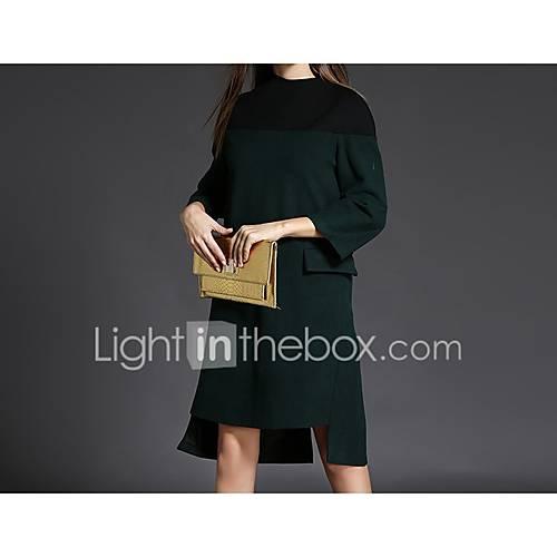 dames-casual-dagelijks-eenvoudig-ruimvallend-jurk-kleurenblok-ronde-hals-boven-de-knie-driekwart-mouw-overige-alle-seizoenen-medium-taille