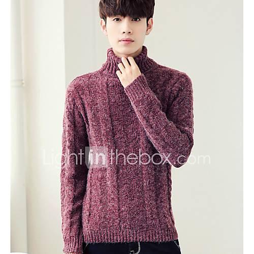 heren-uitgaan-casual-dagelijks-eenvoudig-normaal-pullover-effen-coltrui-lange-mouw-acryl-herfst-winter-medium-micro-elastisch