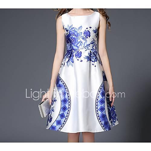dames-uitgaan-casual-dagelijks-feestjecocktail-schede-jurk-print-ronde-hals-tot-de-knie-mouwloos-polyester-lente-zomer-medium-taille