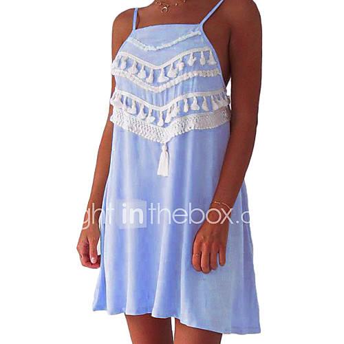 dames-casual-dagelijks-street-chic-recht-jurk-effen-bandje-mini-mouwloos-polyester-zomer-medium-taille-micro-elastisch-medium