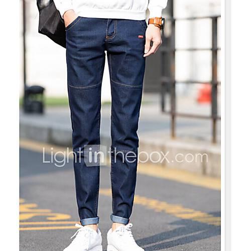 heren-eenvoudig-medium-taille-ruimvallend-micro-elastisch-chinos-zwaar-katoen-broek-effen