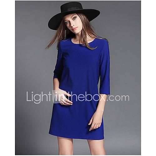 dames-casual-dagelijks-eenvoudig-ruimvallend-jurk-effen-ronde-hals-boven-de-knie-halflange-mouw-overige-alle-seizoenen-medium-taille