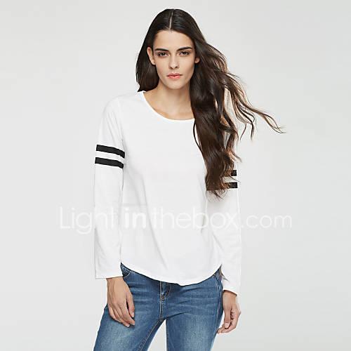 Mujer Simple / Chic de Calle Casual/Diario / Noche Primavera / Otoño Camiseta,Escote Redondo A Rayas Manga Larga PoliésterBlanco / Negro Lightinthebox