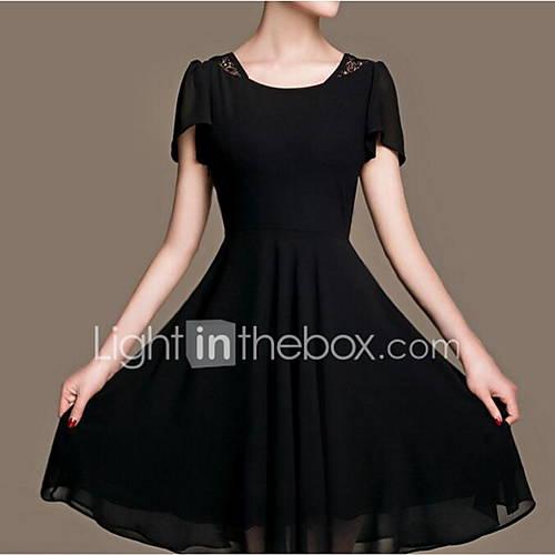dames-casual-dagelijks-eenvoudig-schede-jurk-effen-kleurenblok-ronde-hals-tot-de-knie-korte-mouw-katoen-zomer-medium-taille-inelastisch