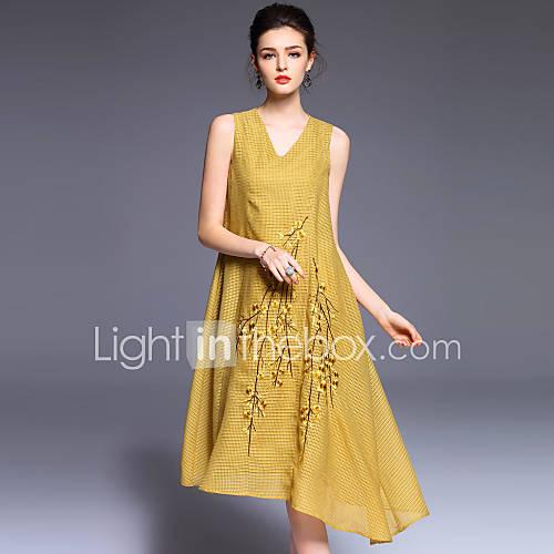 dames-uitgaan-schattig-a-lijn-jurk-geborduurd-v-hals-midi-mouwloos-polyester-lente-zomer-medium-taille-micro-elastisch-medium