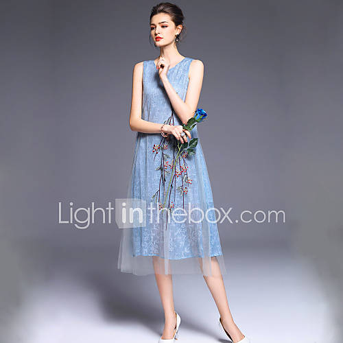dames-uitgaan-schattig-wijd-uitlopend-jurk-geborduurd-ronde-hals-midi-mouwloos-polyester-lente-zomer-hoge-taille-micro-elastisch-medium