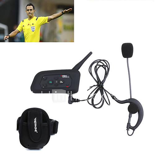 1PCS Football Referee Intercom Headset Vnetphone V4C 1200M Full Duplex Bluetooth Interphone with FM for 4 Users Referee Interphone