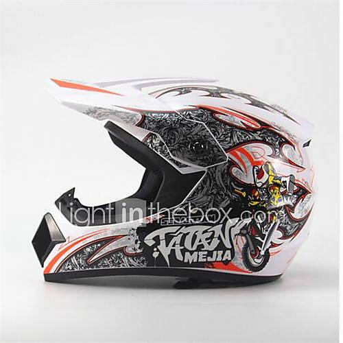 MEJIA Off-Road Motorcycle Racing Helmet Full Face Damping Durable Motorsport Helmet White/Orange Color