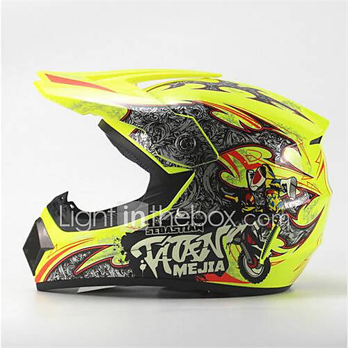 MEJIA Off-Road Motorcycle Racing Helmet Gloss Yellow Full Face Damping Durable Motorsport Helmet