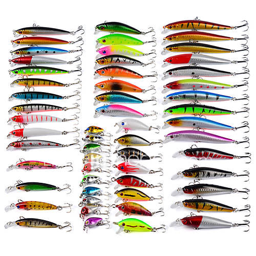 56 pcs Minnow Fishing Lures Hard Bait Minnow Lure Packs Multicolored g/Ounce mm inchPlastic Bait Casting