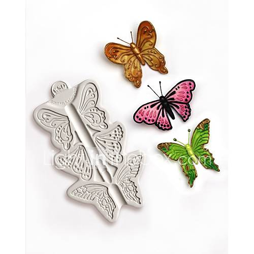 Random Color Newest Butterfly Fondant Silicone Cake Mold Cake Decorating Tools Silicone Baking Cake Molds Candy Clay Gumpaste Chocolate Mould