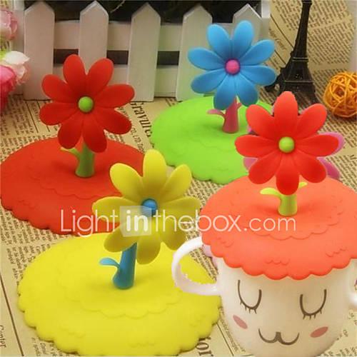 1Pcs Silicone Cute Flower  Anti-Dust Glass Cup Cover Coffee Mug Suction Seal Cap Random color
