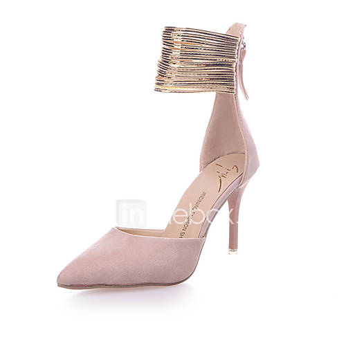 Women's Shoes Fleece PU Spring Summer Club Shoes Heels Stiletto Heel Pointed Toe Zipper for Casual Dress Party  Evening Black Pink