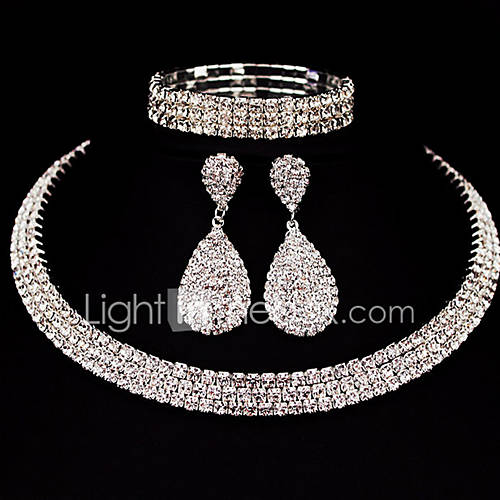 Women's Jewelry Set Rhinestone Alloy Square Classic Basic DIY Christmas Gifts Wedding Party Special Occasion Anniversary Birthday