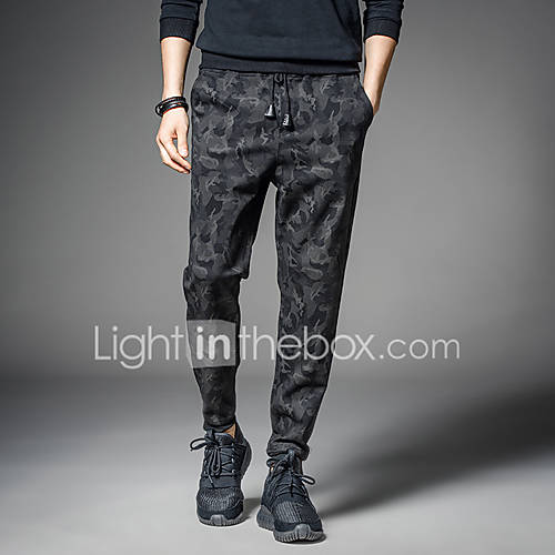 Men's Active / Street chic / Punk  Gothic Plus Size Slim Harem / Active / Relaxed Pants Pure Color / Mixed Color / Slim / Military