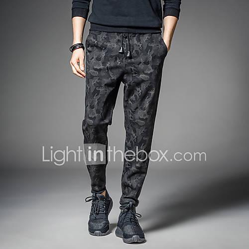 Men's Military Punk  Gothic Plus Size Slim Harem Active Sweatpants Chinos Relaxed Pants Pure Color Print Slim Mixed Color