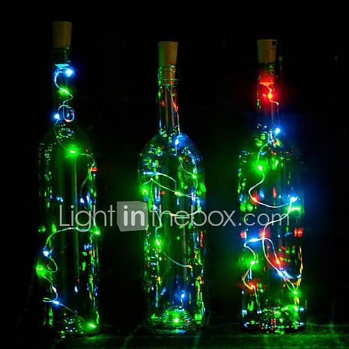 1pcs los 2m 20 llevaron la decoración llevada llevada de cerámica de la lámpara de la botella de vino del tapón del alambre de cobre