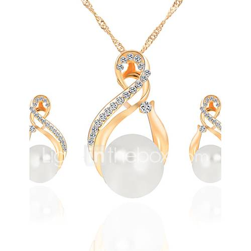 Women's Jewelry Set Bridal Jewelry Sets Necklace/Earrings Rhinestone Imitation Pearl Crystal Imitation Pearl Rhinestone Zinc Alloy Round