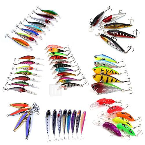 HiUmi Lot 53 pcs Hard Bait Metal Bait Swimbaits Minnow Crank Pencil Vibration/VIB Lure kits Fishing Lures Metal Bait Hard Bait Spoons Minnow Crank