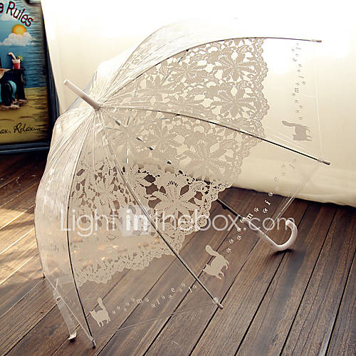 Transparency Pink and White Lace Wedding Umbrella Princess Parasols Photography Prop Decoration