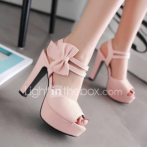 Women's Shoes PU Summer Comfort Heels Chunky Heel Peep Toe For Casual Black Light Purple Blushing Pink