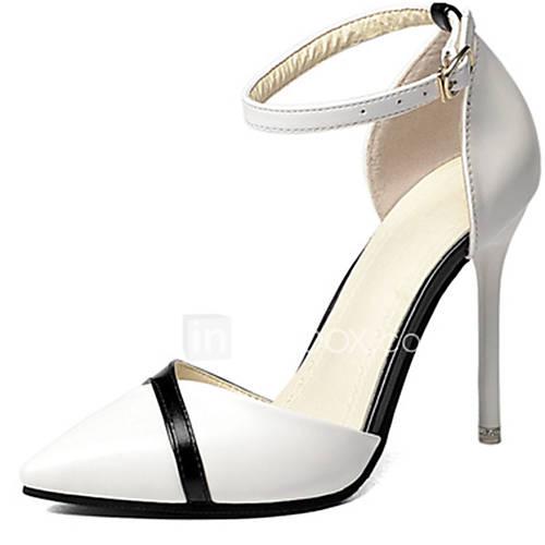 Women's Heels Comfort Spring Summer PU Casual Office  Career Buckle Stiletto Heel White Black 2in-2 3/4in